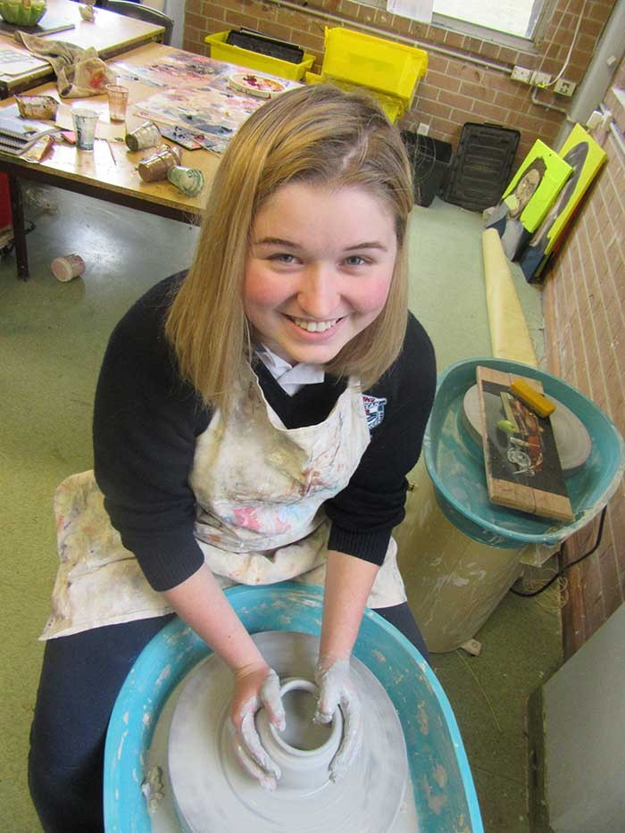 Mia Van Den Dolder making a wheel